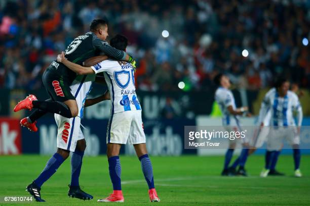 Alfonso Blanco and Raul Lopez of Pachuca celebrate after winning the Final second leg match between Pachuca and Tigres UANL as part of the CONCACAF...