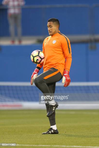 Alfonso Blanco goalkeeper of Pachuca controls the ball during the Pachuca training session at Toyota Stadium on March 14 2017 in Dallas United States