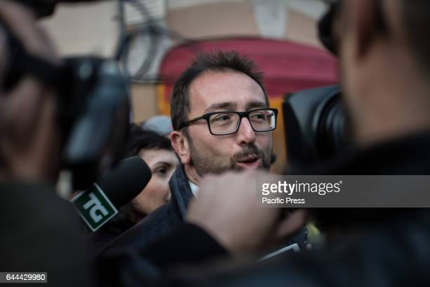Alfonso Bonafede leaves the Hotel Forum after meeting with the deputies of Five Star Movement