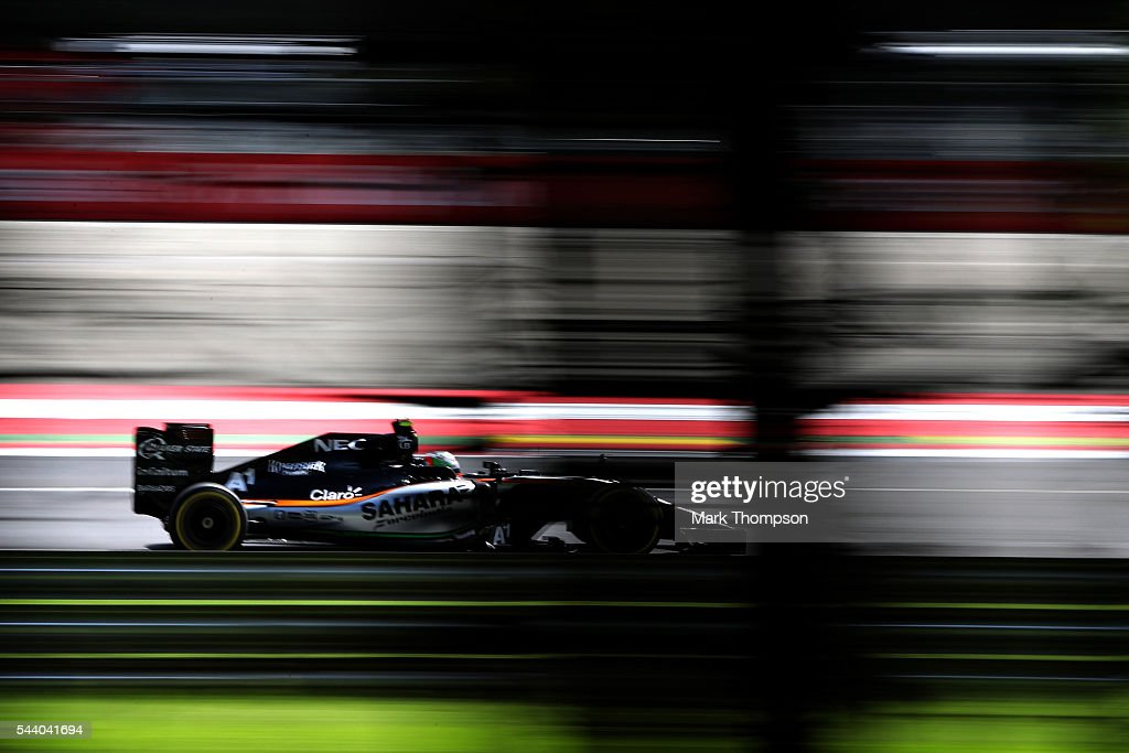 Alfonso Celis Jr of Mexico and Force India drives in the Force India VJM09 Mercedes on track during practice for the Formula One Grand Prix of Austria at Red Bull Ring on July 1, 2016 in Spielberg, Austria.
