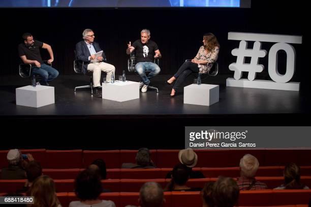 Alfonso CortesCavanillas Jose Lebrero Jon Sistiaga and Maria Jose Rodriguez attend the presentation of the third season of 'Tabu' on Screen TV of...