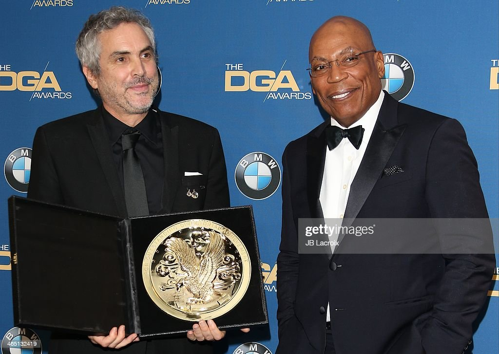 Alfonso Cuaron and Paris Barclay attend the 66th Annual Directors Guild Of America Awards - Press Room held at the Hyatt Regency Century Plaza on January 25, 2014 in Century City, California.