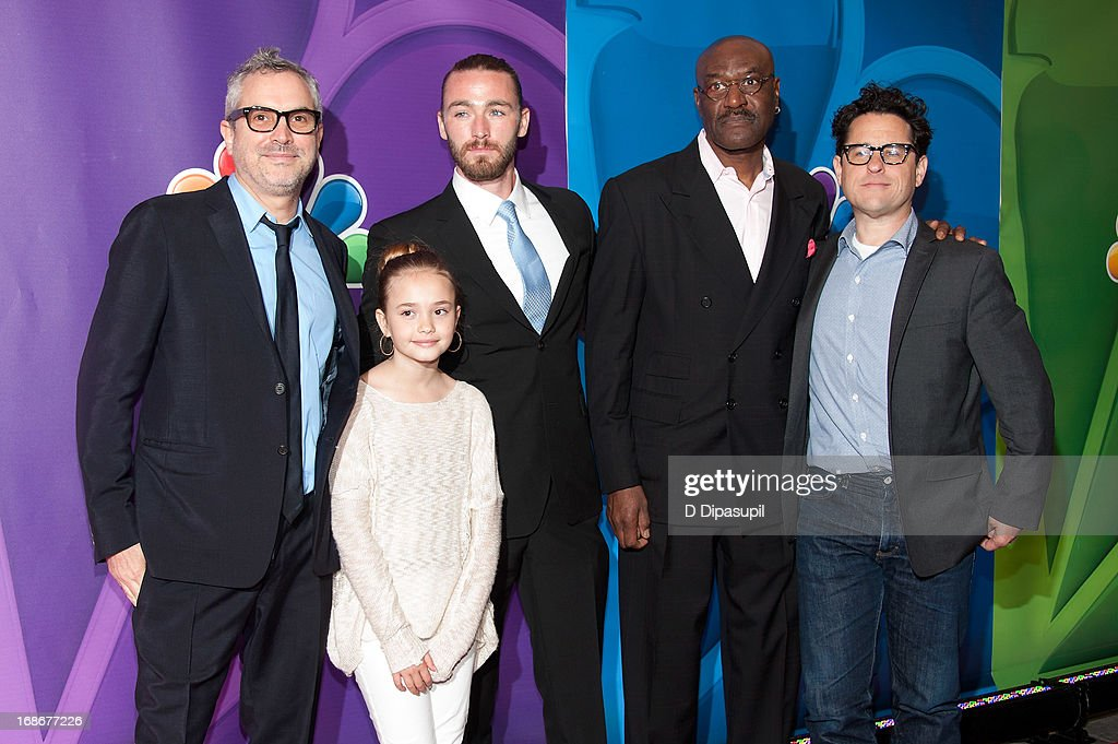 <a gi-track='captionPersonalityLinkClicked' href=/galleries/search?phrase=Alfonso+Cuaron&family=editorial&specificpeople=213792 ng-click='$event.stopPropagation()'>Alfonso Cuaron</a>, Johnny Sequoyah, Jake McLaughlin, <a gi-track='captionPersonalityLinkClicked' href=/galleries/search?phrase=Delroy+Lindo&family=editorial&specificpeople=220784 ng-click='$event.stopPropagation()'>Delroy Lindo</a>, and J.J. Abrams attend the 2013 NBC Upfront Presentation Red Carpet Event at Radio City Music Hall on May 13, 2013 in New York City.