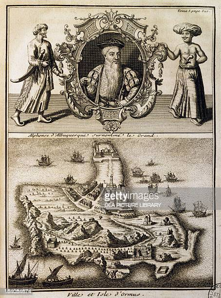 Alfonso de Albuquerque and Hormuz island engraving from Discoveries and conquests of the Portuguese in the New World by JosephFrancois Lafitau 1733...