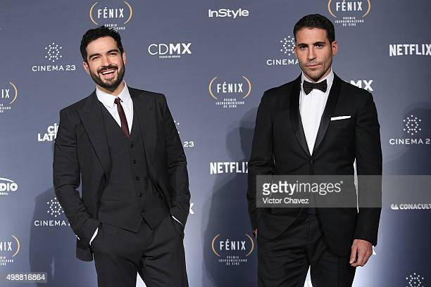 Alfonso Herrera and Miguel Angel Silvestre attend the Premio Iberoamericano de Cine Fenix 2015 at Teatro de La Ciudad on November 25 2015 in Mexico...