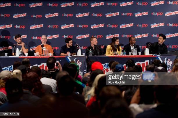 Alfonso Herrera Ben Daniels Zuleikha Robinson Kurt Egyiawan and John Cho attend the 'The Exorcist' panel during the 2017 New York Comic Con Day 4 on...