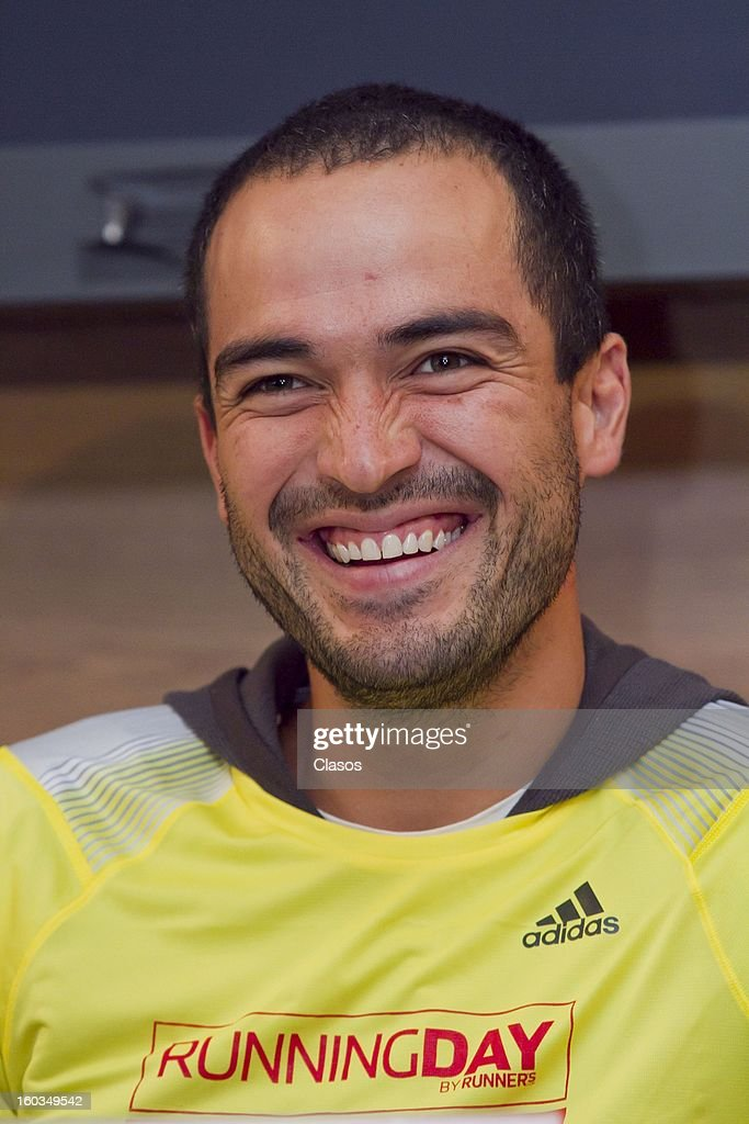 Alfonso Herrera during a press conference to announce the Running Day in Mexico on January 29, 2013 in Mexico City, Mexico.