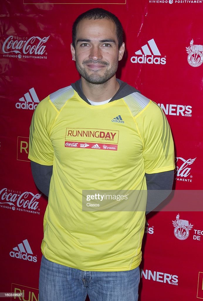 Alfonso Herrera poses during a press conference to announce the Running Day in Mexico on January 29, 2013 in Mexico City, Mexico.