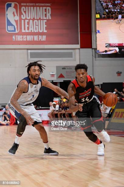 Alfonso McKinnie of the Toronto Raptors drives against the New Orleans Pelicans during the 2017 Las Vegas Summer League on July 7 2017 at the Cox...