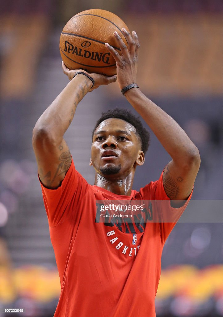 Alfonso McKinnie #34 of the Toronto Raptors warms up prior to playing against the San Antonio Spurs in an NBA game at the Air Canada Centre on January 19, 2018 in Toronto, Ontario, Canada.