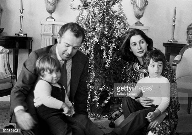 Alfonso of Borbon and his wife Carmen Martinez Bordiu with their two sons Luis Alfonso and Francisco de Asis on Christmas Day 24th December1976...
