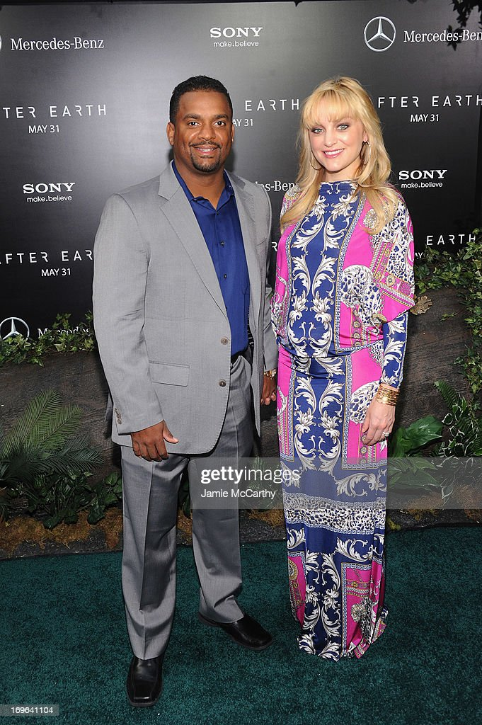 Alfonso Ribeiro (L) and Angela Unkrich attends Columbia Pictures and Mercedes-Benz Present the US Red Carpet Premiere of AFTER EARTH at Ziegfeld Theatre on May 29, 2013 in New York City.