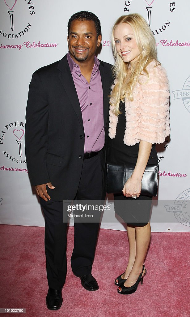 <a gi-track='captionPersonalityLinkClicked' href=/galleries/search?phrase=Alfonso+Ribeiro&family=editorial&specificpeople=628950 ng-click='$event.stopPropagation()'>Alfonso Ribeiro</a> (L) and wife, Angela Unkrich arrive at the PGA TOUR Wives Association celebrates its 25th Anniversary held at Fairmont Miramar Hotel on February 11, 2013 in Santa Monica, California.