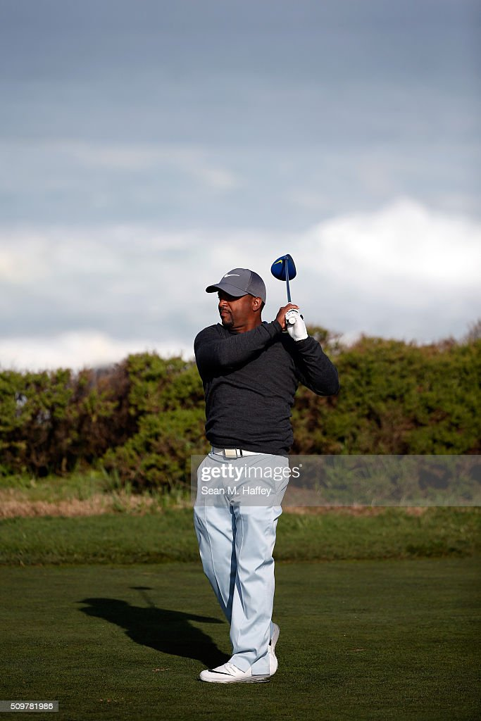 <a gi-track='captionPersonalityLinkClicked' href=/galleries/search?phrase=Alfonso+Ribeiro&family=editorial&specificpeople=628950 ng-click='$event.stopPropagation()'>Alfonso Ribeiro</a> plays his tee shot on the 13th hole during the second round of the AT&T Pebble Beach National Pro-Am at the Monterey Peninsula Country Club (Shore Course) on February 12, 2016 in Pebble Beach, California.