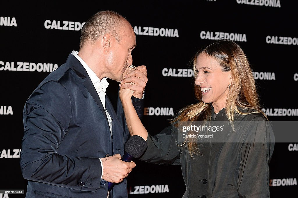 Alfonso Signorini and Sarah Jessica Parker arrive at the Calzedonia Show Forever Together at Palazzo dei Congressi on April 16, 2013 in Rimini, Italy.