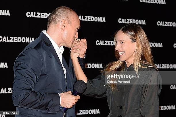 Alfonso Signorini and Sarah Jessica Parker arrive at the Calzedonia Show Forever Together at Palazzo dei Congressi on April 16 2013 in Rimini Italy