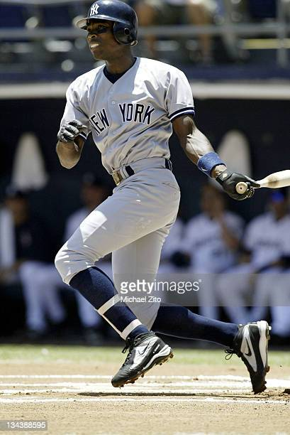 Alfonso Soriano in action vs the Padres during New York Yankees Vs the San Diego Padres at Qualcomm Stadium in San Diego California United States