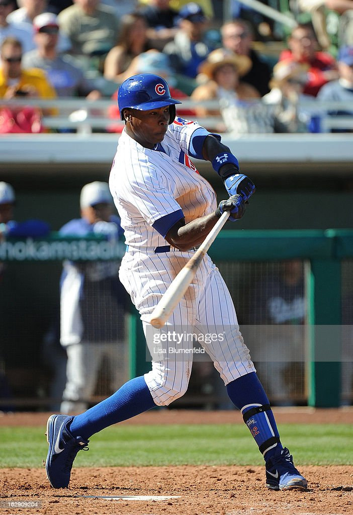 <a gi-track='captionPersonalityLinkClicked' href=/galleries/search?phrase=Alfonso+Soriano&family=editorial&specificpeople=202251 ng-click='$event.stopPropagation()'>Alfonso Soriano</a> #12 of the Chicago Cubs bats against the Los Angeles Dodgers on February 27, 2013 at HoHoKam Park in Mesa, Arizona.