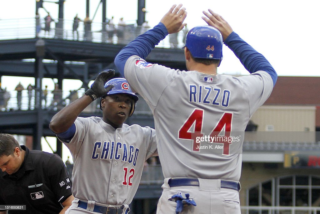 <a gi-track='captionPersonalityLinkClicked' href=/galleries/search?phrase=Alfonso+Soriano&family=editorial&specificpeople=202251 ng-click='$event.stopPropagation()'>Alfonso Soriano</a> #12 of the Chicago Cubs celebrates after hitting a two run home run in the eighth inning against the Pittsburgh Pirates during the game on September 9, 2012 at PNC Park in Pittsburgh, Pennsylvania.