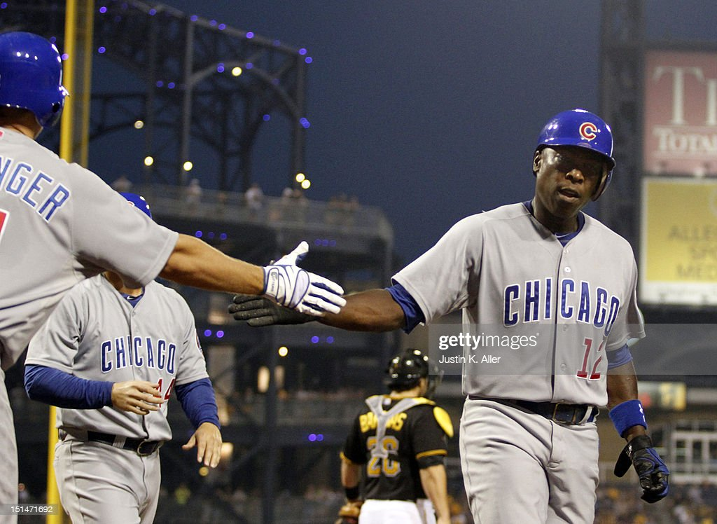 <a gi-track='captionPersonalityLinkClicked' href=/galleries/search?phrase=Alfonso+Soriano&family=editorial&specificpeople=202251 ng-click='$event.stopPropagation()'>Alfonso Soriano</a> #12 of the Chicago Cubs celebrates after scoring on a two-RBI single in the third inning against the Pittsburgh Pirates during the game on September 7, 2012 at PNC Park in Pittsburgh, Pennsylvania.