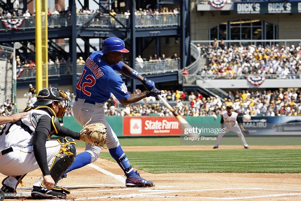 Alfonso Soriano 12 Of The Chicago Cubs Connects With A Pitch Against Pittsburgh Pirates