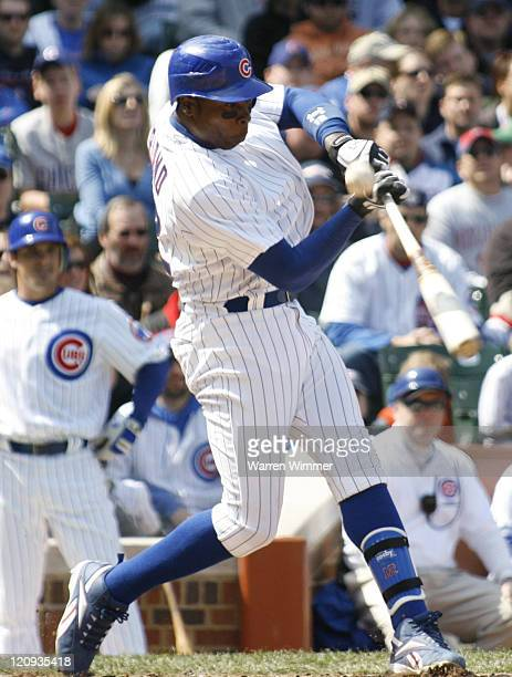Alfonso Soriano of the Chicago Cubs fouling off a Kyle Lohse offering during action at Wrigley Field Chicago Illinois on April 15 2007 where a...