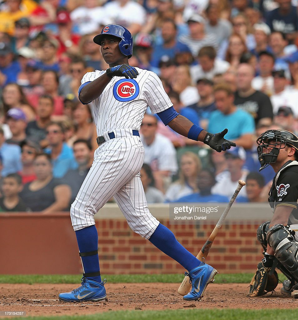 <a gi-track='captionPersonalityLinkClicked' href=/galleries/search?phrase=Alfonso+Soriano&family=editorial&specificpeople=202251 ng-click='$event.stopPropagation()'>Alfonso Soriano</a> #12 of the Chicago Cubs hits his second two-run home run of the game in the 5th inning against the Pittsburgh Pirates at Wrigley Field on July 6, 2013 in Chicago, Illinois. The Cubs defeated the pirates 4-1.