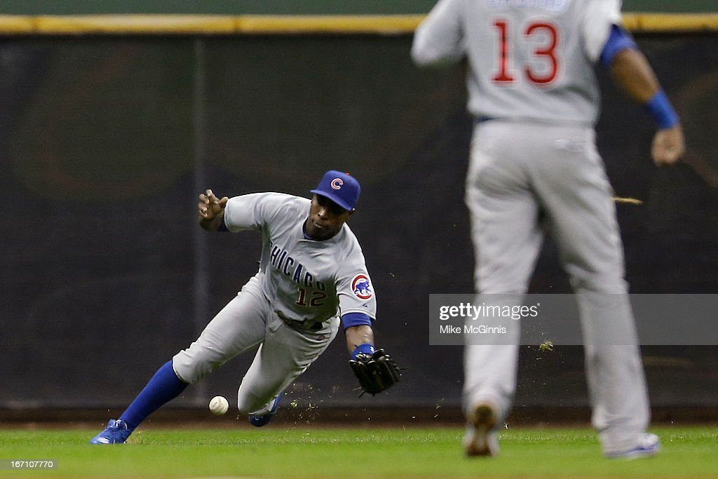 <a gi-track='captionPersonalityLinkClicked' href=/galleries/search?phrase=Alfonso+Soriano&family=editorial&specificpeople=202251 ng-click='$event.stopPropagation()'>Alfonso Soriano</a> #12 of the Chicago Cubs is uable to make the catch in left field allowing Logan Schafer of the Milwaukee Brewers a double during the bottom of fifth inning at Miller Park on April 20, 2013 in Milwaukee, Wisconsin.