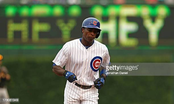Alfonso Soriano of the Chicago Cubs runs the bases after hitting a tworun home run in the 4th inning against the Pittsburgh Pirates at Wrigley Field...