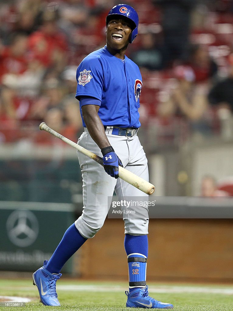<a gi-track='captionPersonalityLinkClicked' href=/galleries/search?phrase=Alfonso+Soriano&family=editorial&specificpeople=202251 ng-click='$event.stopPropagation()'>Alfonso Soriano</a> #12 of the Chicago Cubs walks back to the dougout after striking out in the 12th inning during the game against the Cincinnati Reds at Great American Ball Park on April 22, 2013 in Cincinnati, Ohio. The Reds won 5-4 in 13 innings.