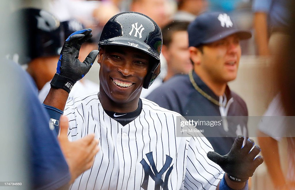 <a gi-track='captionPersonalityLinkClicked' href=/galleries/search?phrase=Alfonso+Soriano&family=editorial&specificpeople=202251 ng-click='$event.stopPropagation()'>Alfonso Soriano</a> #12 of the New York Yankees celebrates his third inning two run home run against the Tampa Bay Rays at Yankee Stadium on July 28, 2013 in the Bronx borough of New York City.