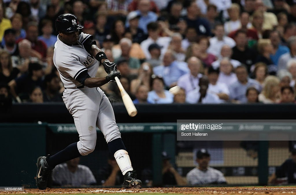 <a gi-track='captionPersonalityLinkClicked' href=/galleries/search?phrase=Alfonso+Soriano&family=editorial&specificpeople=202251 ng-click='$event.stopPropagation()'>Alfonso Soriano</a> #12 of the New York Yankees connects on a double in the sixth inning against the Houston Astros at Minute Maid Park on September 27, 2013 in Houston, Texas.
