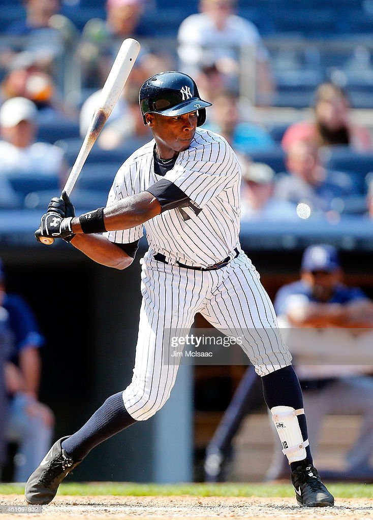 Alfonso Soriano #12 of the New York Yankees in action against the Tampa Bay Rays at Yankee Stadium on July 2, 2014 in the Bronx borough of New York City. The Rays defeated the Yankees 6-3.