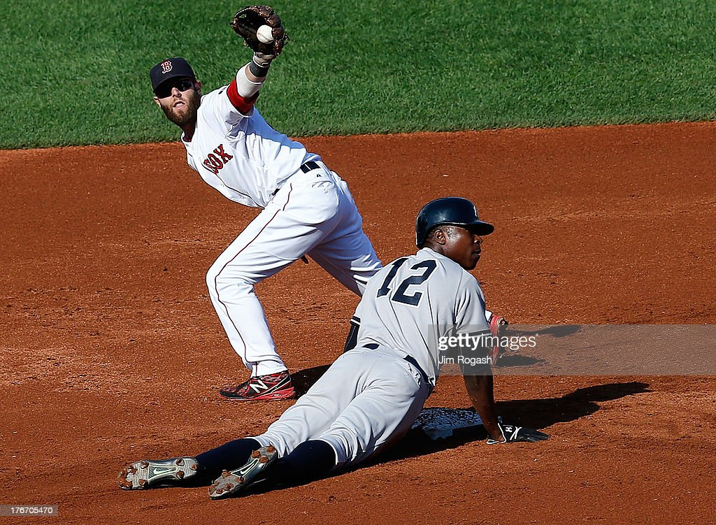 Alfonso Soriano #12 of the New York Yankees is doubled off at second base as Dustin Pedroia #15 of the Boston Red Sox holds on to the ball during the 1st inning against Boston Red Sox at Fenway Park on August 17, 2013 in Boston, Massachusetts.