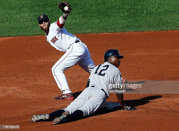 Alfonso Soriano of the New York Yankees is doubled off at second base as Dustin Pedroia of the Boston Red Sox holds on to the ball during the 1st...