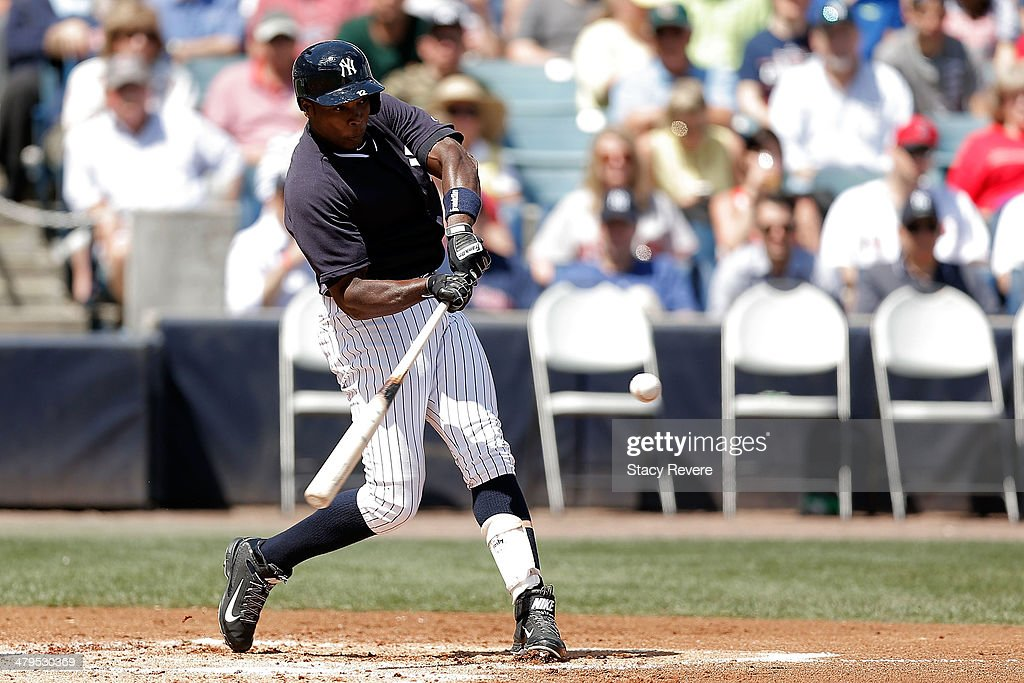 Alfonso Soriano of the New York Yankees swings at a pitch in the first inning of a game against the Boston Red Sox at George M Steinbrenner Field on...