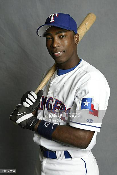 Alfonso Soriano of the Texas Rangers poses for photographers during photo day on February 26 2004 at Surprise Stadium in Surprise Arizona The New...