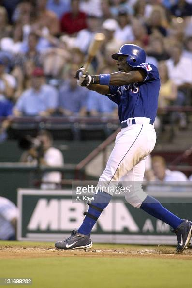 Alfonso Soriano of the Texas Rangers two doubles against the New York Yankee at Ameriquest Stadium in Arlington Texas on August 12 2004 The Yankees...