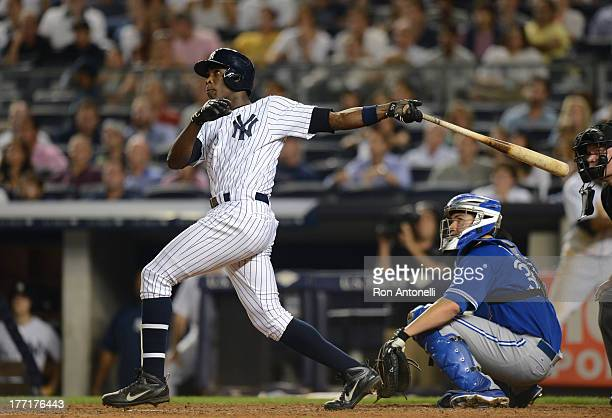 Alfonso Soriano of the Yankees 2 run home run in the 8th inning of the New York Yankees game against the Toronto Blue Jays at Yankee Stadium on...