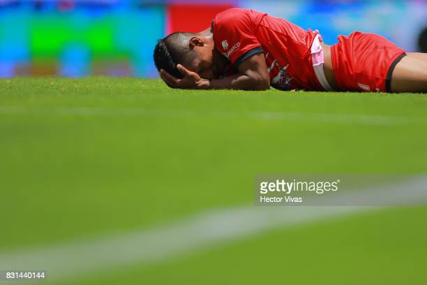 Alfonso Tamay of Lobos BUAP reacts during the fourth round match between Pumas UNAM and Lobos BUAP as part of the Torneo Apertura 2017 Liga MX at...
