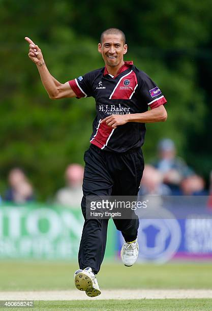 Alfonso Thomas of Somerset celebrates dismissing Luke Wright of Sussex during the Natwest T20 Blast match between Sussex Sharks and Somerset at...