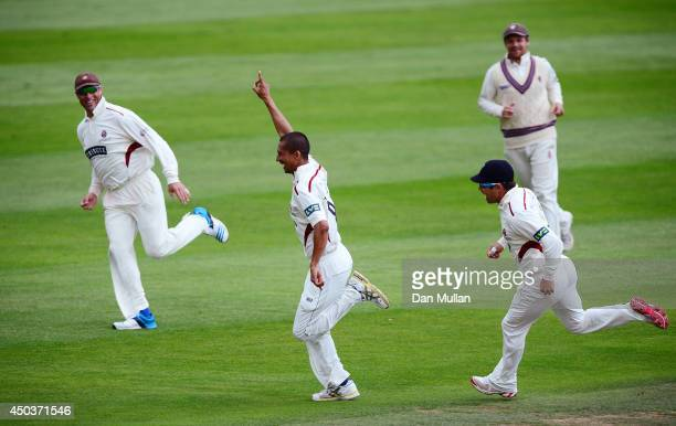 Alfonso Thomas of Somerset celebrates taking a hattrick after dismissing Ed Joyce of Sussex during day three of the LV County Championship Division...