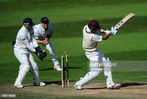 Alfonso Thomas of Somerset is bowled by Jeetan Patel of Warwickshire during day four of the LV County Championship Division One match between...