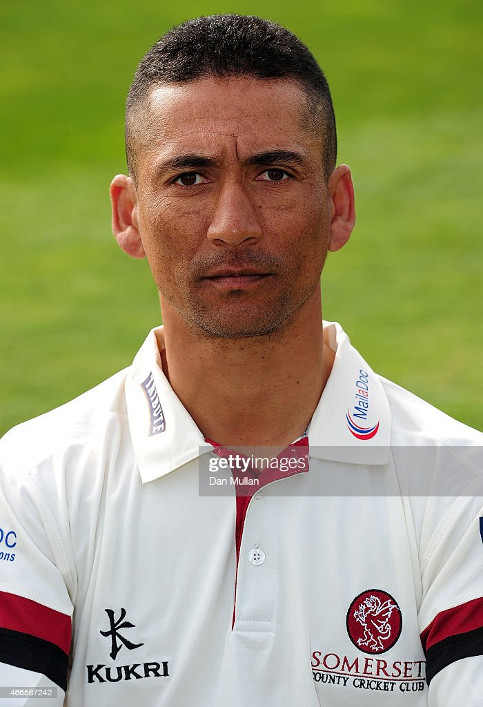 Alfonso Thomas of Somerset poses during the Somerset CCC Photocall at The County Ground on March 17 2015 in Taunton England