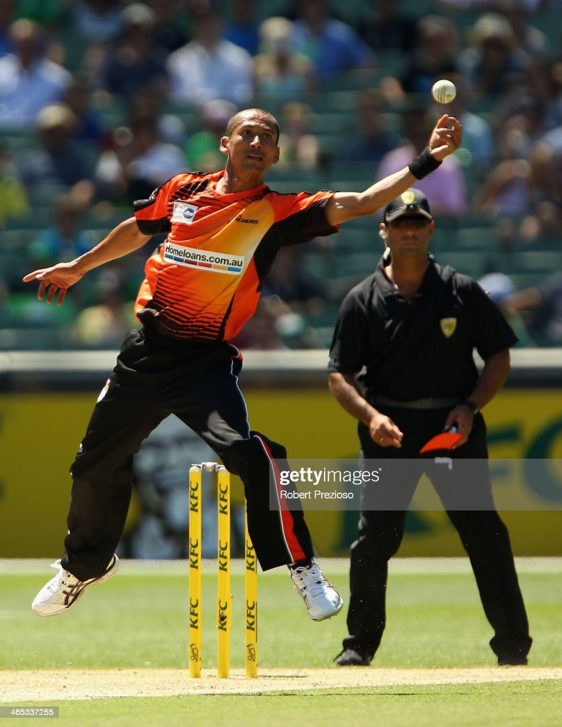Alfonso Thomas of the Scorchers attempts to field the ball during the Big Bash League match between the Melbourne Stars and the Perth Scorchers at Melbourne Cricket Ground on January 27, 2014 in Melbourne, Australia.