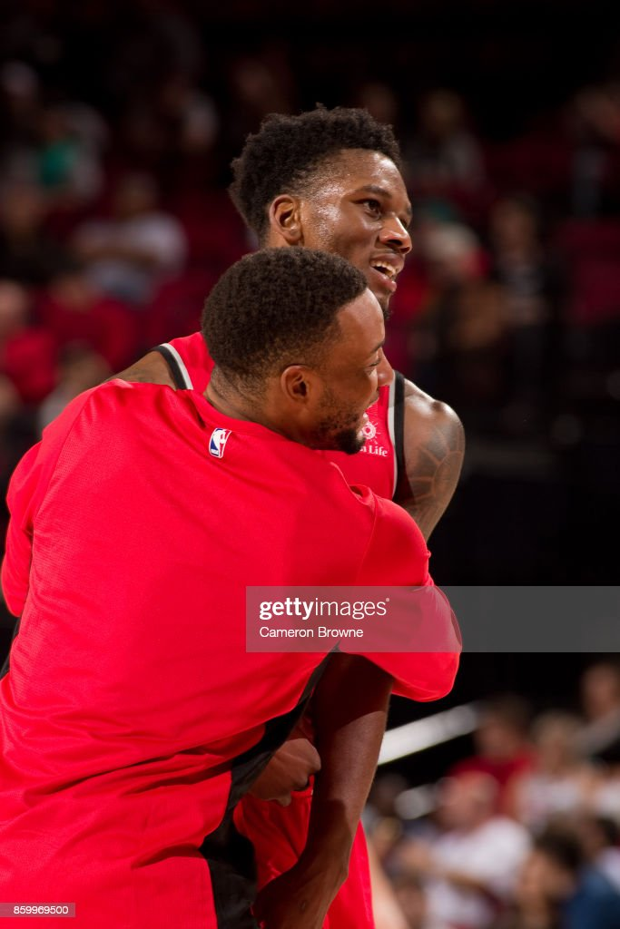 Alfonzo McKinnie #34 of the Toronto Raptors reacts during the preseason game against the Portland Trail Blazers on October 5, 2017 at the Moda Center Arena in Portland, Oregon.