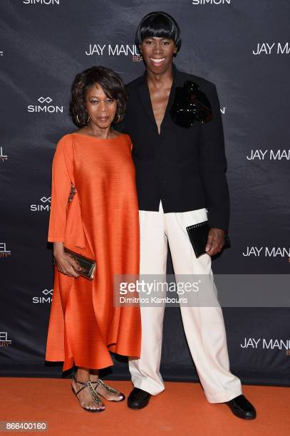 Alfre Woodard and J Alexander attend the Jay Manuel Beauty x Simon Launch Event at Highline Stages on October 25 2017 in New York City