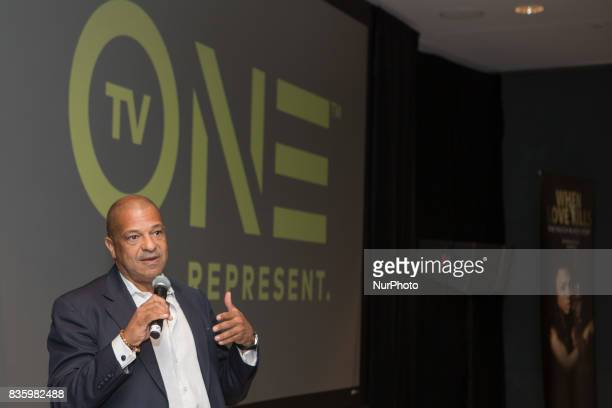 Alfred C Liggins CEO President and Treasurer of Radio One Inc and CEO of TV One speaks to guests at TV One's DC Premiere of When Love Kills The...
