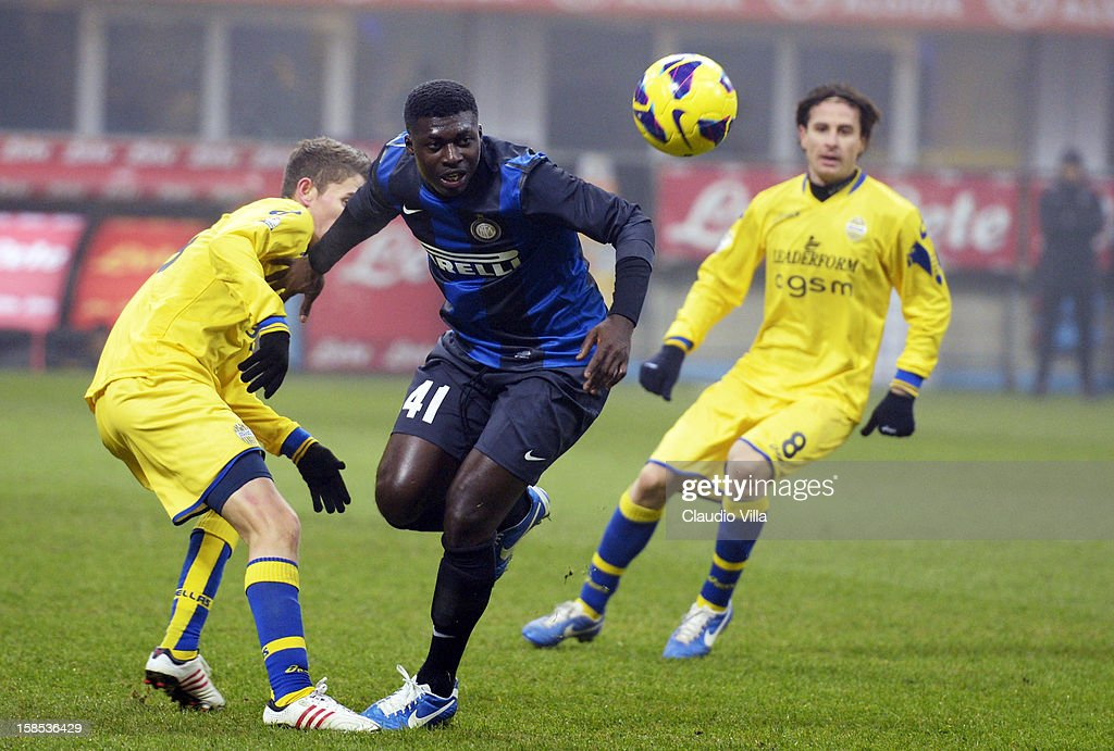 Alfred Duncan of FC Inter Milan during the TIM Cup match between FC Internazionale Milano and Hellas Verona at San Siro Stadium on December 18, 2012 in Milan, Italy.