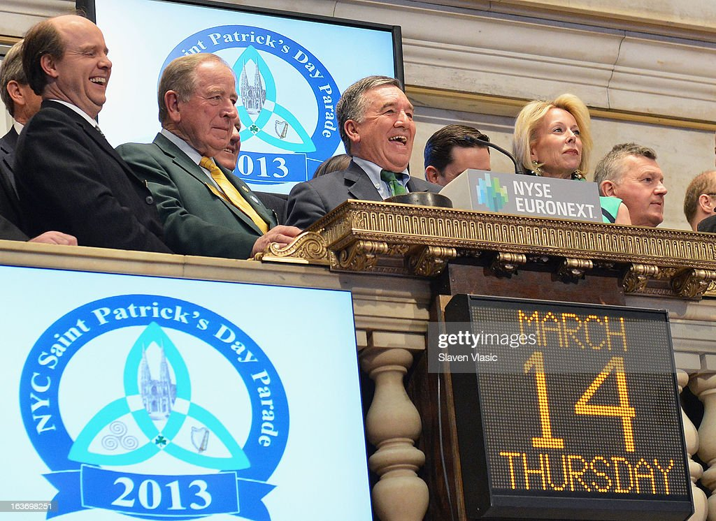 Alfred E. Smith IV (C), Grand Marshal of the 252nd St. Patrick's Day Parade, joined by Parade Committee members rings the closing bell in honor of St. Patrick's Day at the New York Stock Exchange on March 14, 2013 in New York City.